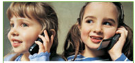 Image of child on cell phone.